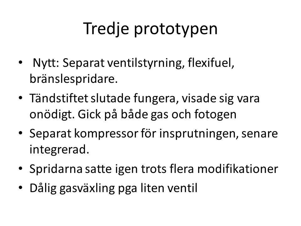 Tredje prototypen Nytt: Separat ventilstyrning, flexifuel, bränslespridare.