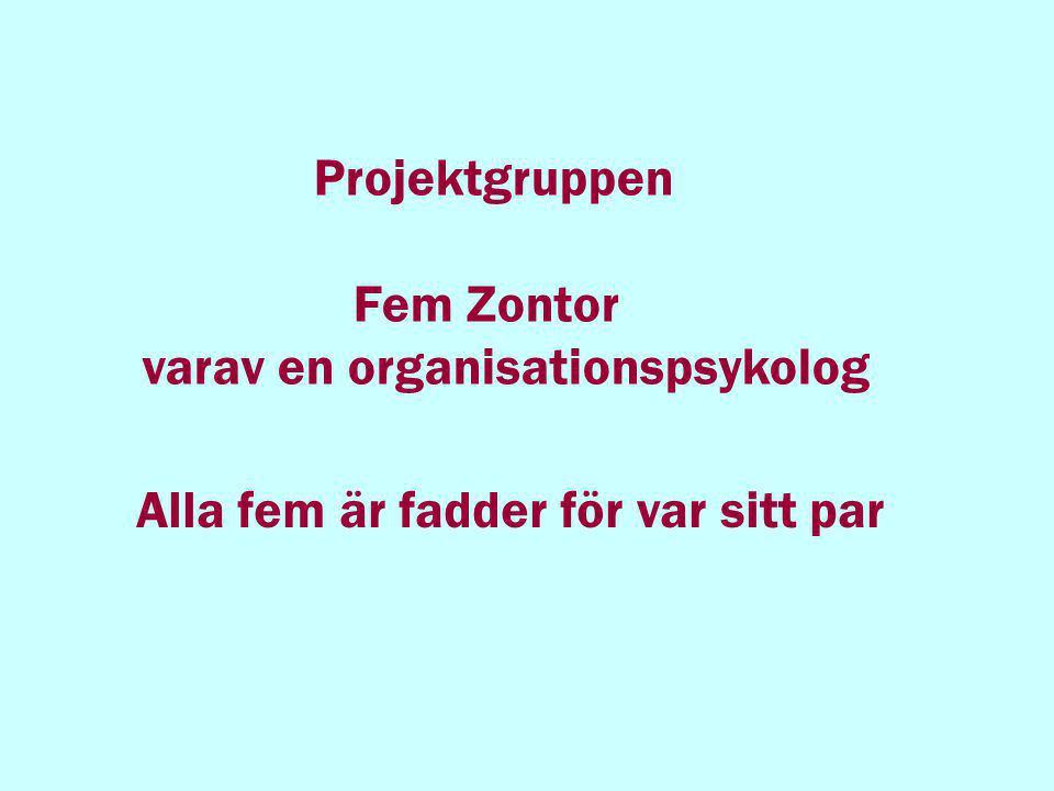 Projektgruppen Fem Zontor varav en organisationspsykolog Alla fem är fadder för var sitt par