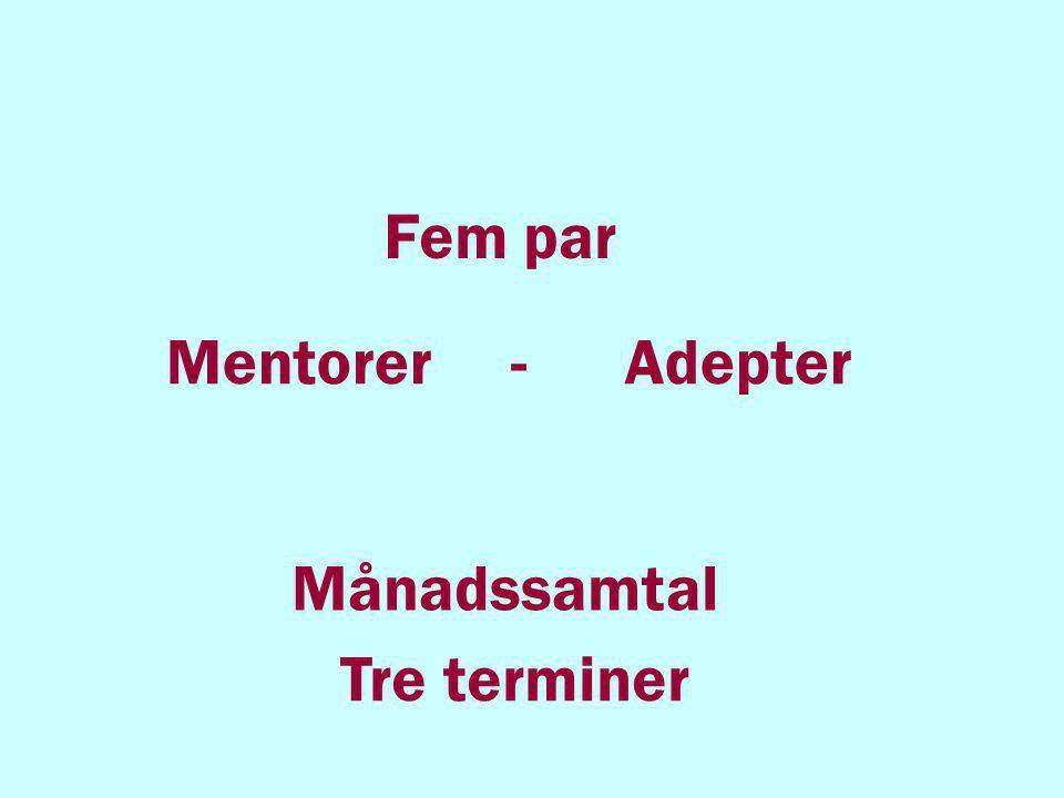 Fem par Mentorer - Adepter Månadssamtal Tre terminer