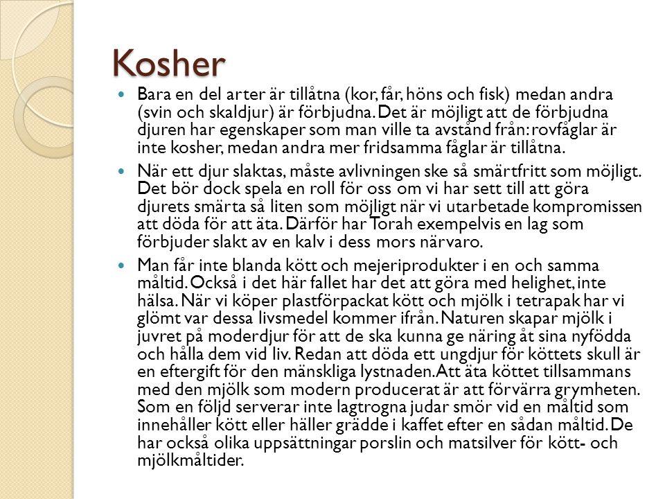 Kosher Bara en del arter är tillåtna (kor, får, höns och fisk) medan andra (svin och skaldjur) är förbjudna.