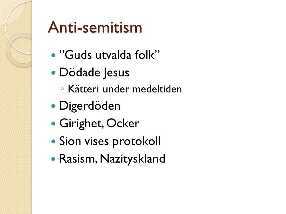 Anti-semitism Guds utvalda folk Dödade Jesus ◦ Kätteri under medeltiden Digerdöden Girighet, Ocker Sion vises protokoll Rasism, Nazityskland