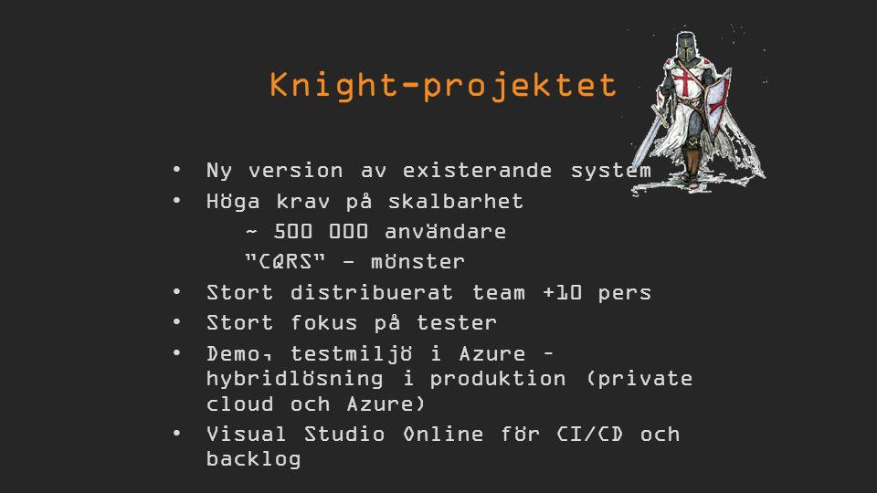 Ny version av existerande system Höga krav på skalbarhet ~ 500 000 användare CQRS - mönster Stort distribuerat team +10 pers Stort fokus på tester Demo, testmiljö i Azure – hybridlösning i produktion (private cloud och Azure) Visual Studio Online för CI/CD och backlog Knight-projektet
