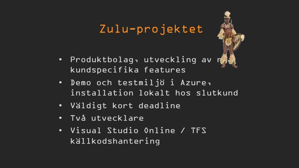 Produktbolag, utveckling av nya kundspecifika features Demo och testmiljö i Azure, installation lokalt hos slutkund Väldigt kort deadline Två utvecklare Visual Studio Online / TFS källkodshantering Zulu-projektet