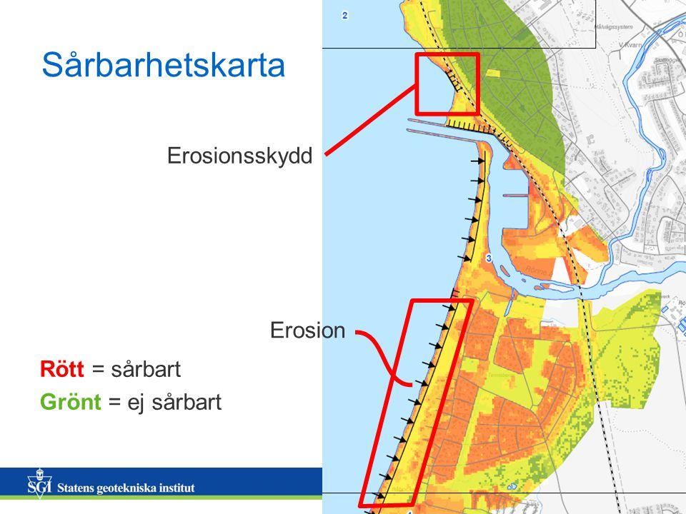 12 Sårbarhetskarta Rött = sårbart Grönt = ej sårbart Erosionsskydd Erosion