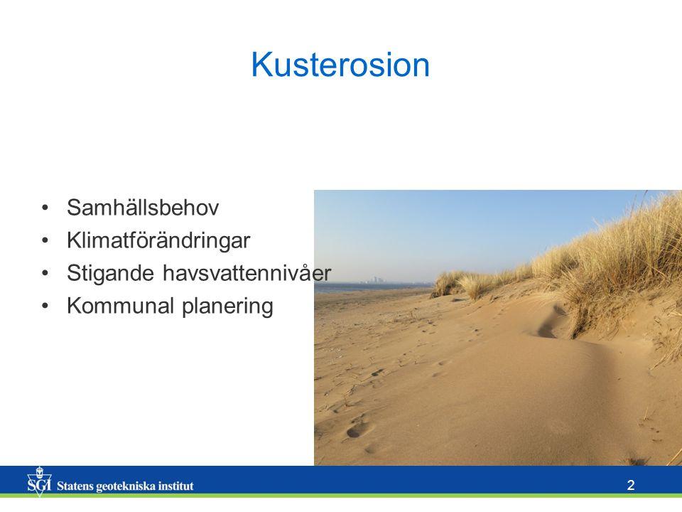 2 Kusterosion Samhällsbehov Klimatförändringar Stigande havsvattennivåer Kommunal planering