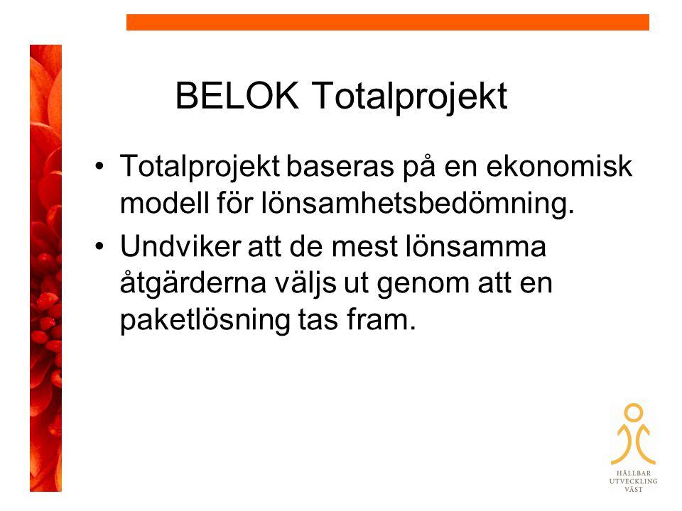 BELOK Totalprojekt Totalprojekt baseras på en ekonomisk modell för lönsamhetsbedömning.