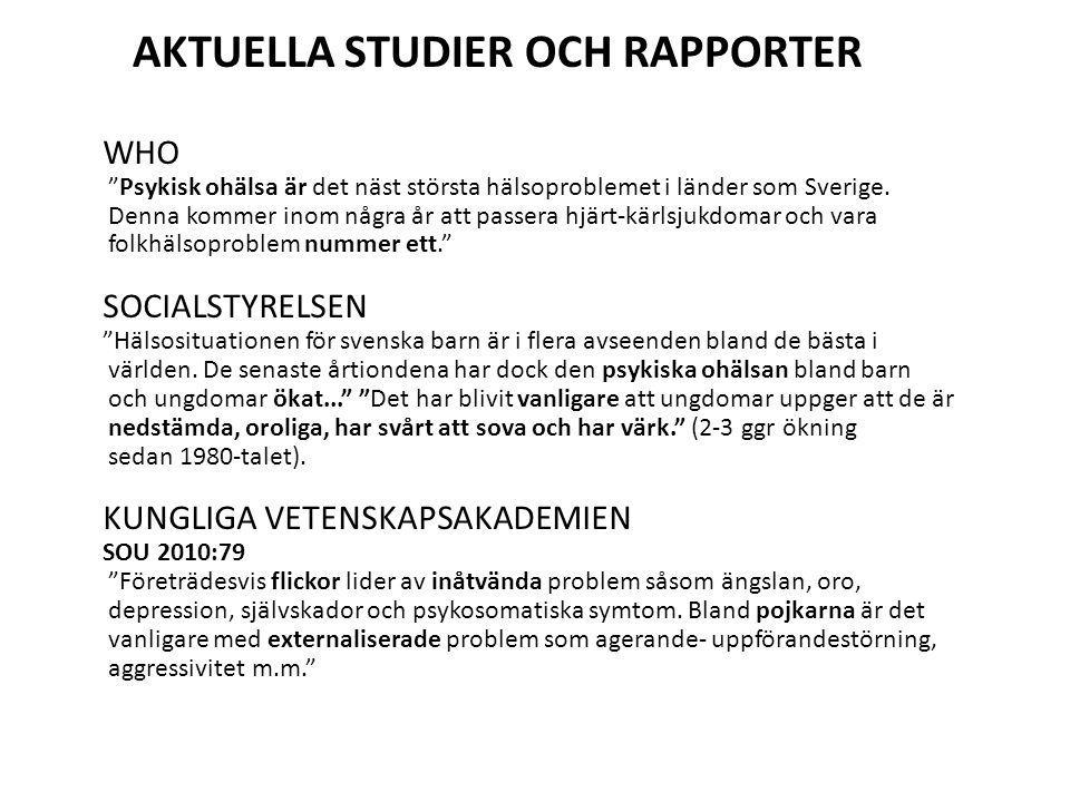 WHO Psykisk ohälsa är det näst största hälsoproblemet i länder som Sverige.