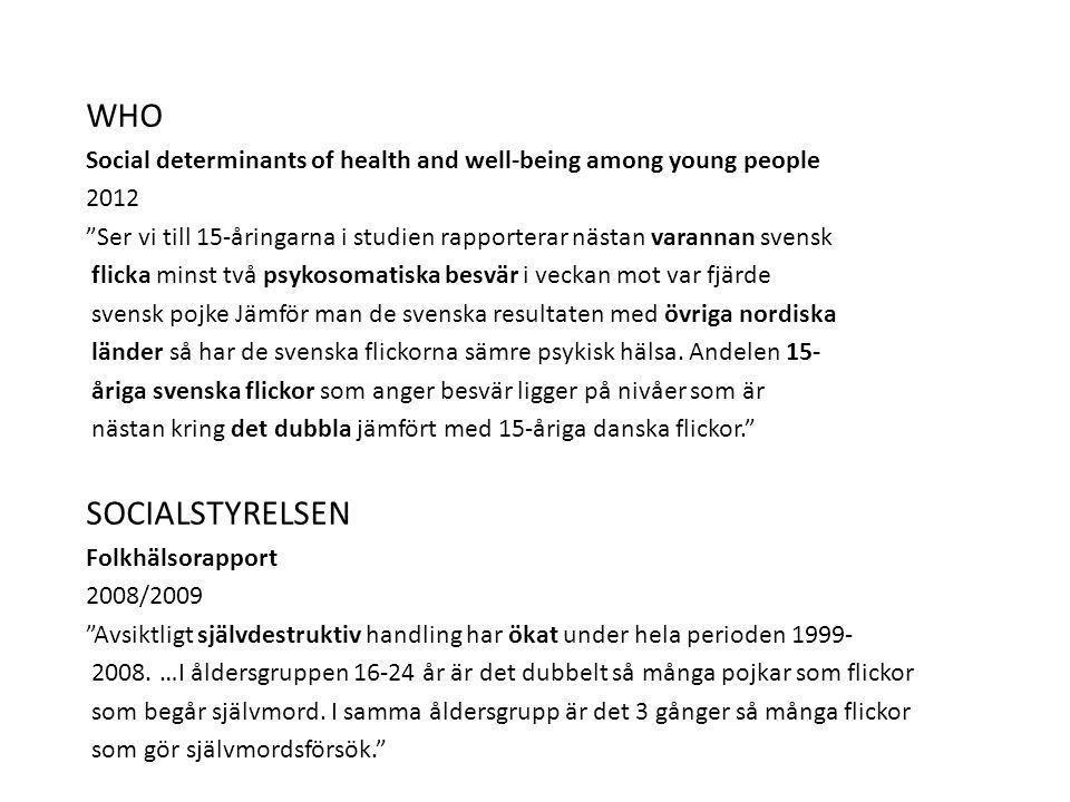 WHO Social determinants of health and well-being among young people 2012 Ser vi till 15-åringarna i studien rapporterar nästan varannan svensk flicka minst två psykosomatiska besvär i veckan mot var fjärde svensk pojke Jämför man de svenska resultaten med övriga nordiska länder så har de svenska flickorna sämre psykisk hälsa.
