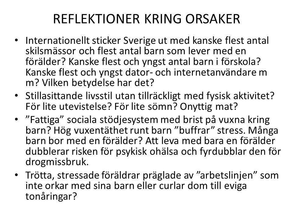 REFLEKTIONER KRING ORSAKER Internationellt sticker Sverige ut med kanske flest antal skilsmässor och flest antal barn som lever med en förälder? Kansk