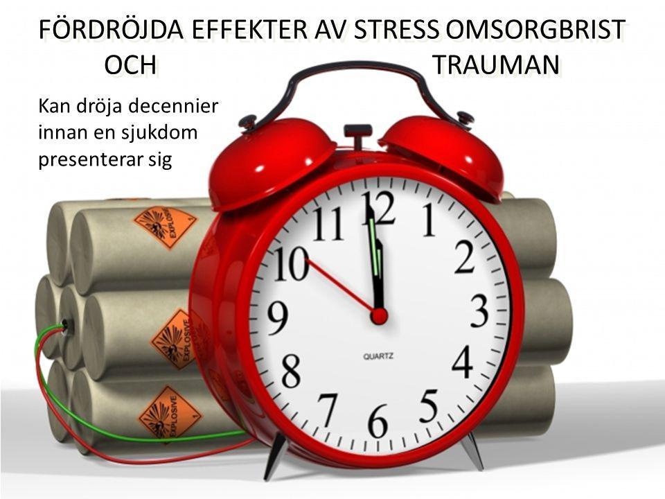 FÖRDRÖJDA EFFEKTER AV STRESS OMSORGBRIST OCH TRAUMAN FÖRDRÖJDA EFFEKTER AV STRESS OMSORGBRIST OCH TRAUMAN Kan dröja decennier innan en sjukdom presenterar sig