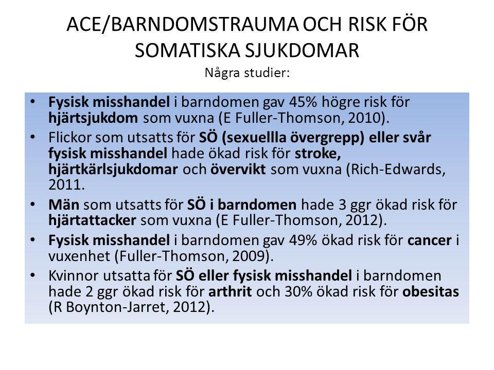 ACE/BARNDOMSTRAUMA OCH RISK FÖR SOMATISKA SJUKDOMAR Några studier: Fysisk misshandel i barndomen gav 45% högre risk för hjärtsjukdom som vuxna (E Fuller-Thomson, 2010).