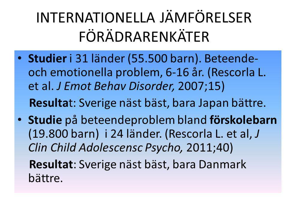 INTERNATIONELLA JÄMFÖRELSER FÖRÄDRARENKÄTER Studier i 31 länder (55.500 barn). Beteende- och emotionella problem, 6-16 år. (Rescorla L. et al. J Emot