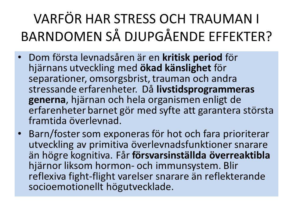 Dom första levnadsåren är en kritisk period för hjärnans utveckling med ökad känslighet för separationer, omsorgsbrist, trauman och andra stressande e