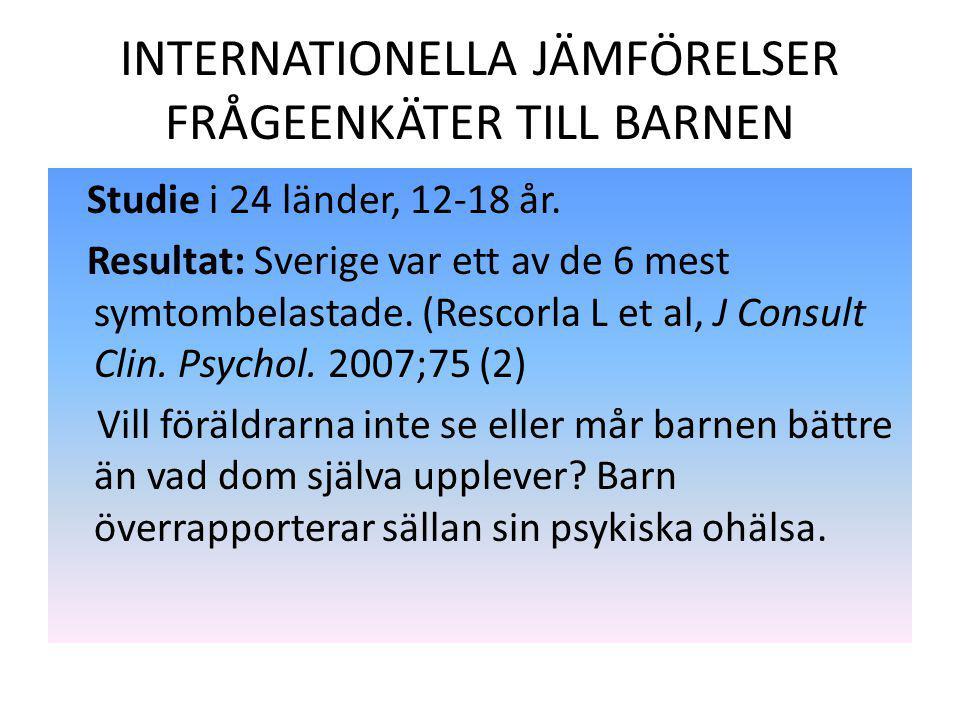 INTERNATIONELLA JÄMFÖRELSER FRÅGEENKÄTER TILL BARNEN Studie i 24 länder, 12-18 år. Resultat: Sverige var ett av de 6 mest symtombelastade. (Rescorla L