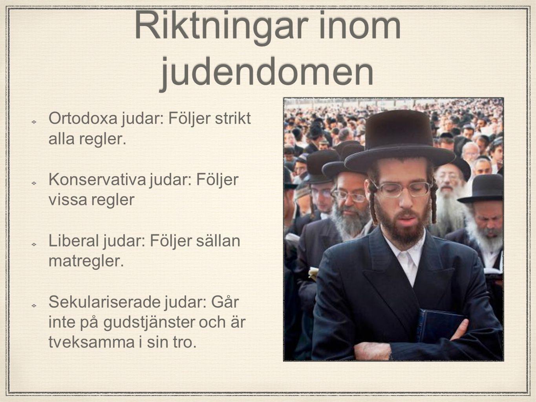 Riktningar inom judendomen Ortodoxa judar: Följer strikt alla regler. Konservativa judar: Följer vissa regler Liberal judar: Följer sällan matregler.