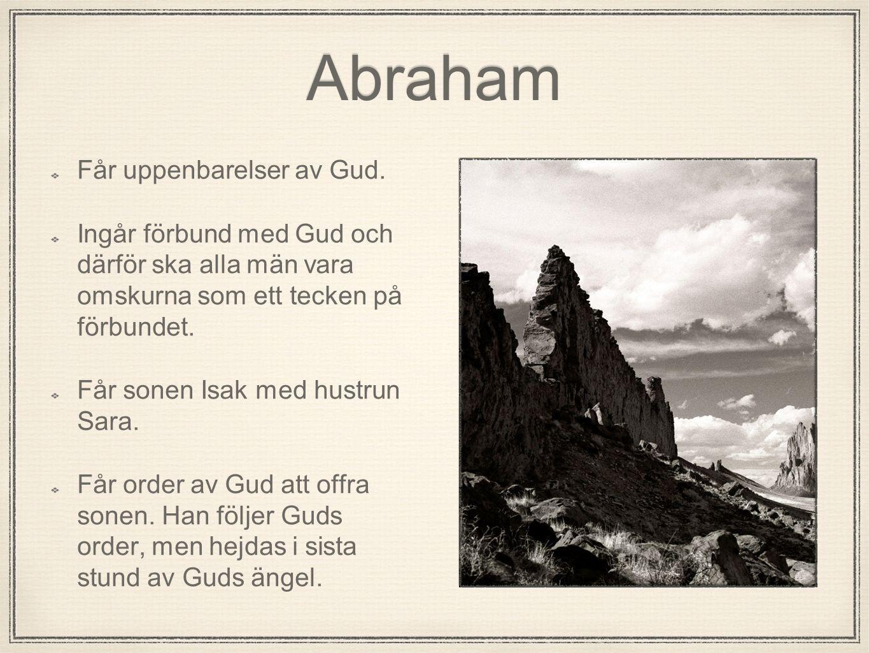 Abraham Får uppenbarelser av Gud. Ingår förbund med Gud och därför ska alla män vara omskurna som ett tecken på förbundet. Får sonen Isak med hustrun