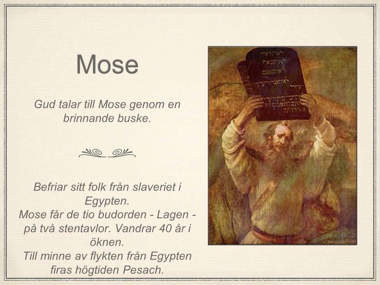 Mose Gud talar till Mose genom en brinnande buske. Befriar sitt folk från slaveriet i Egypten. Mose får de tio budorden - Lagen - på två stentavlor. V