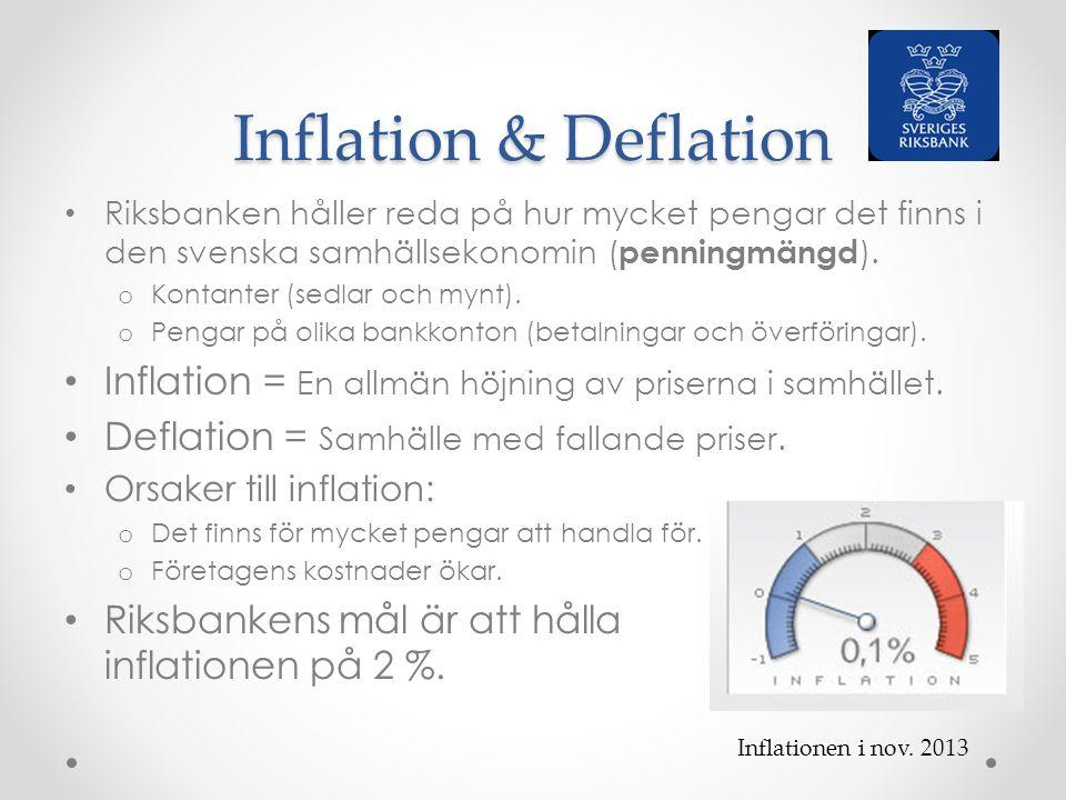 Inflation & Deflation Riksbanken håller reda på hur mycket pengar det finns i den svenska samhällsekonomin ( penningmängd ). o Kontanter (sedlar och m