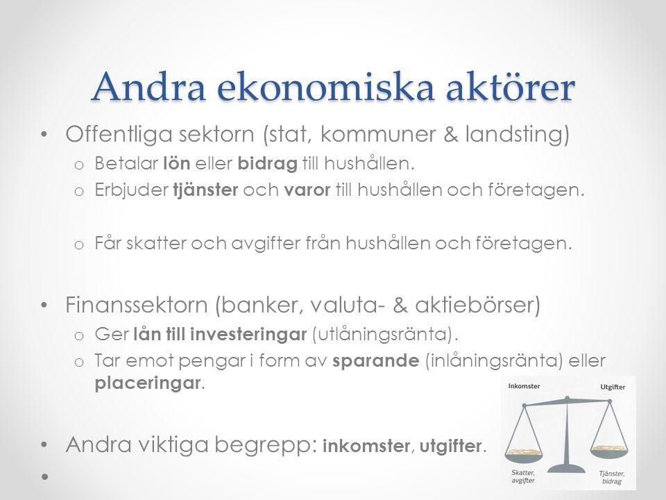 Andra ekonomiska aktörer Offentliga sektorn (stat, kommuner & landsting) o Betalar lön eller bidrag till hushållen.