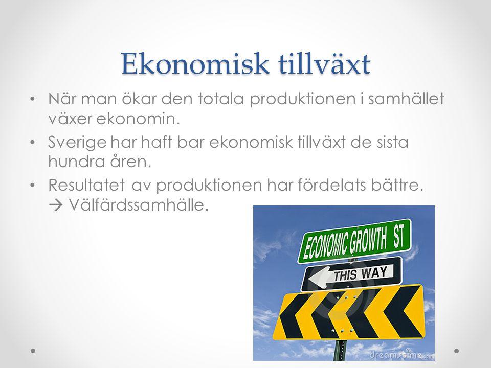 Ekonomisk tillväxt När man ökar den totala produktionen i samhället växer ekonomin. Sverige har haft bar ekonomisk tillväxt de sista hundra åren. Resu