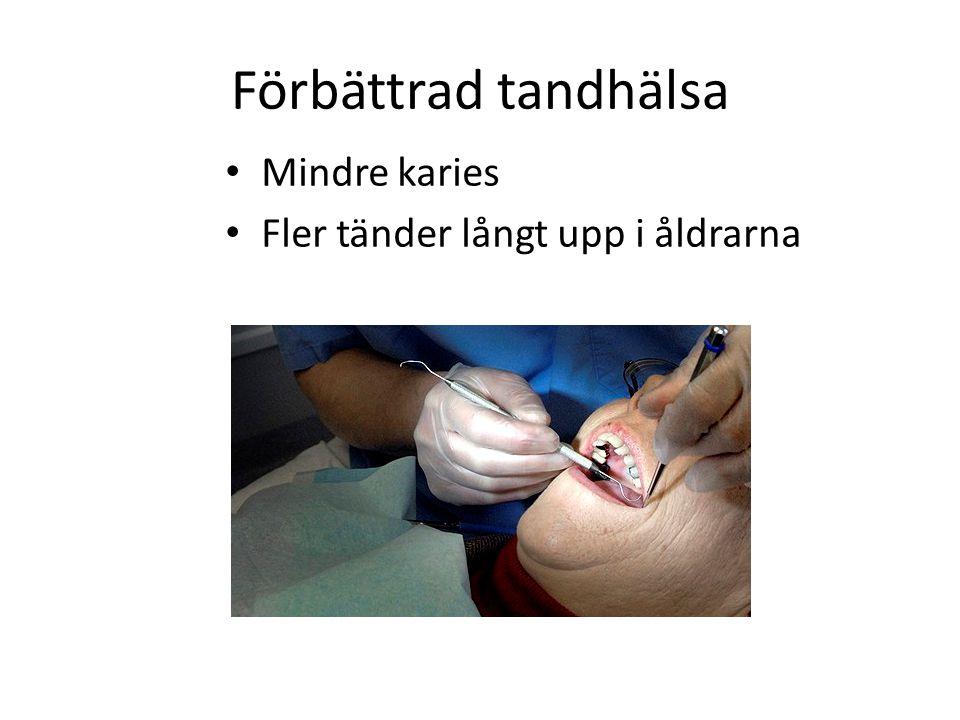 Förbättrad tandhälsa Mindre karies Fler tänder långt upp i åldrarna