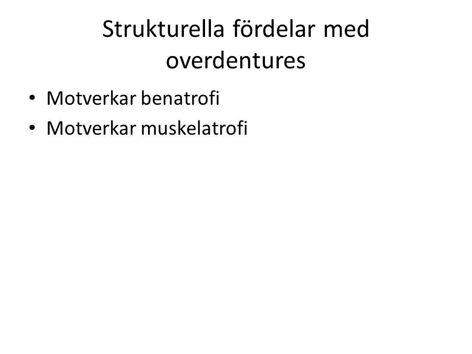 Strukturella fördelar med overdentures Motverkar benatrofi Motverkar muskelatrofi