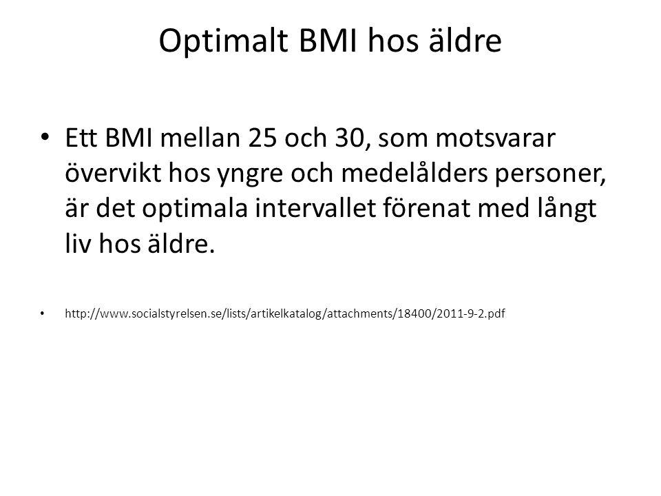 Optimalt BMI hos äldre Ett BMI mellan 25 och 30, som motsvarar övervikt hos yngre och medelålders personer, är det optimala intervallet förenat med lå