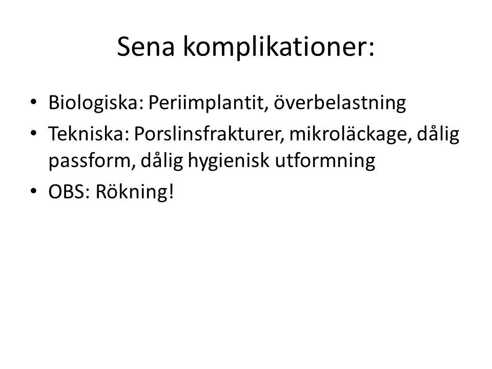 Sena komplikationer: Biologiska: Periimplantit, överbelastning Tekniska: Porslinsfrakturer, mikroläckage, dålig passform, dålig hygienisk utformning O