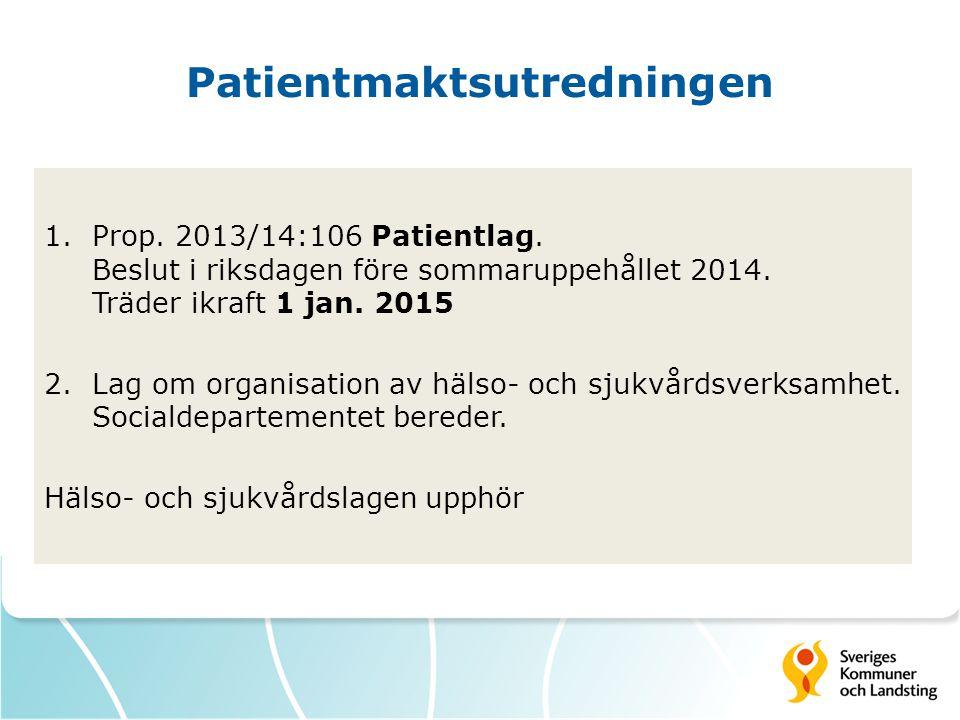 Patientmaktsutredningen 1.Prop.2013/14:106 Patientlag.