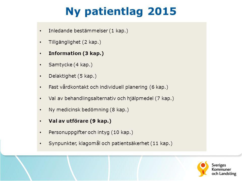 Ny patientlag 2015 Inledande bestämmelser (1 kap.) Tillgänglighet (2 kap.) Information (3 kap.) Samtycke (4 kap.) Delaktighet (5 kap.) Fast vårdkontakt och individuell planering (6 kap.) Val av behandlingsalternativ och hjälpmedel (7 kap.) Ny medicinsk bedömning (8 kap.) Val av utförare (9 kap.) Personuppgifter och intyg (10 kap.) Synpunkter, klagomål och patientsäkerhet (11 kap.)