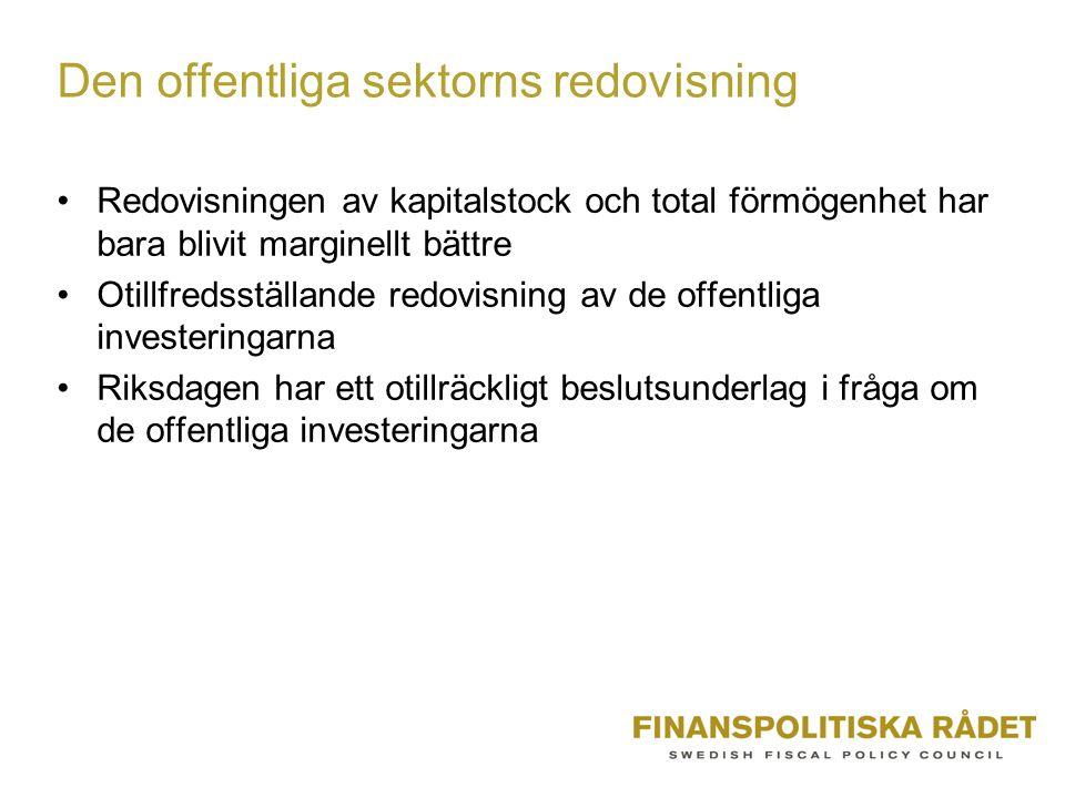 Den offentliga sektorns redovisning Redovisningen av kapitalstock och total förmögenhet har bara blivit marginellt bättre Otillfredsställande redovisning av de offentliga investeringarna Riksdagen har ett otillräckligt beslutsunderlag i fråga om de offentliga investeringarna