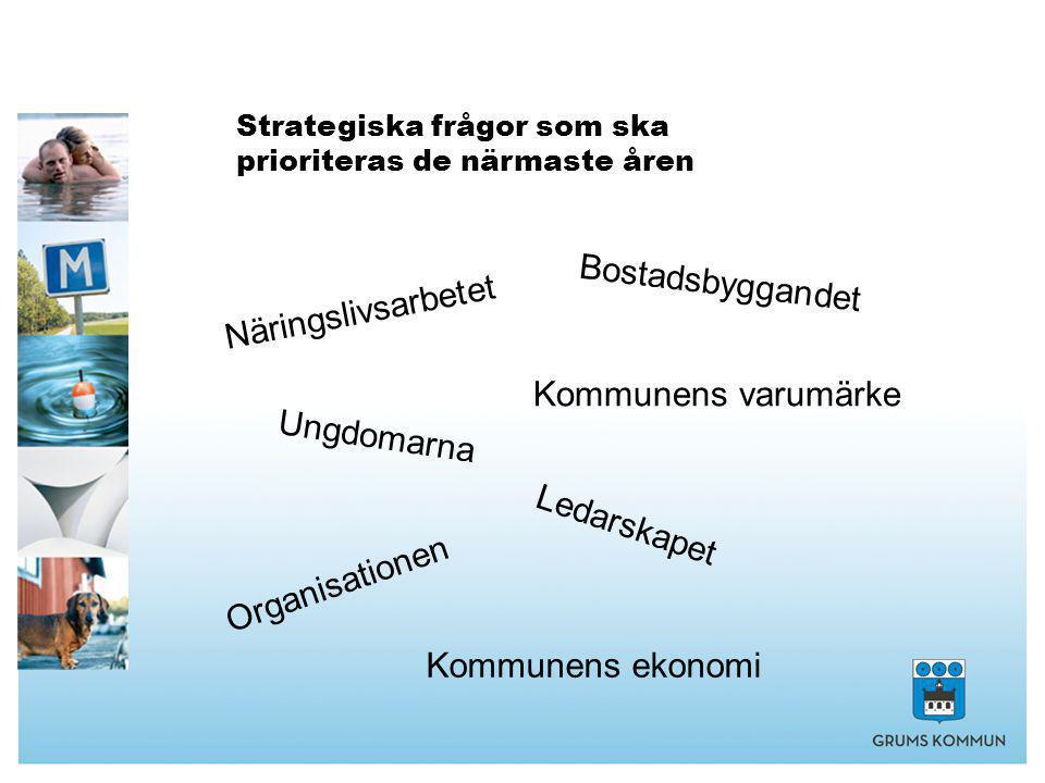 Strategiska frågor som ska prioriteras de närmaste åren Näringslivsarbetet Bostadsbyggandet Organisationen Kommunens ekonomi Ungdomarna Kommunens varumärke Ledarskapet