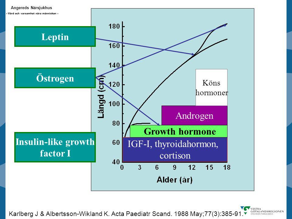 Angereds Närsjukhus - Vård och varsamhet nära människan - IGF-I, thyroidahormon, cortison Growth hormone Androgen Köns hormoner Insulin-like growth factor I Karlberg J & Albertsson-Wikland K.