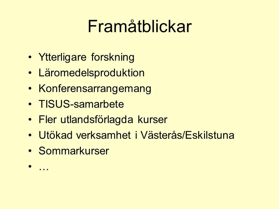 Framåtblickar Ytterligare forskning Läromedelsproduktion Konferensarrangemang TISUS-samarbete Fler utlandsförlagda kurser Utökad verksamhet i Västerås/Eskilstuna Sommarkurser …