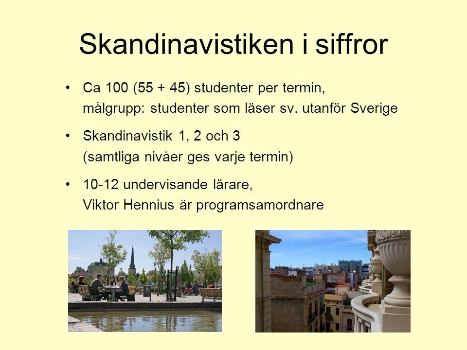 Skandinavistiken i siffror Ca 100 (55 + 45) studenter per termin, målgrupp: studenter som läser sv. utanför Sverige Skandinavistik 1, 2 och 3 (samtlig