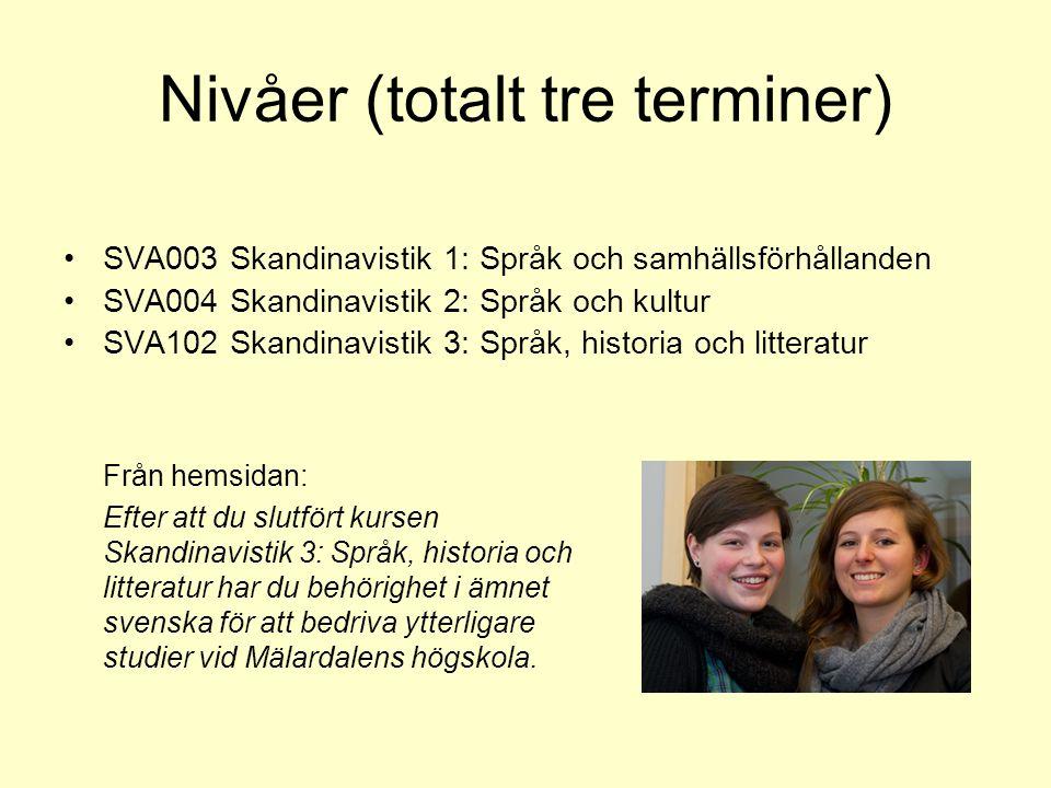 Nivåer (totalt tre terminer) SVA003 Skandinavistik 1: Språk och samhällsförhållanden SVA004 Skandinavistik 2: Språk och kultur SVA102 Skandinavistik 3