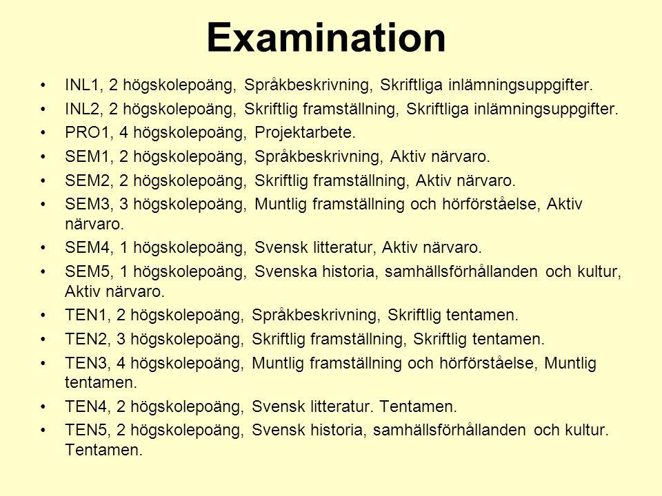Examination INL1, 2 högskolepoäng, Språkbeskrivning, Skriftliga inlämningsuppgifter. INL2, 2 högskolepoäng, Skriftlig framställning, Skriftliga inlämn