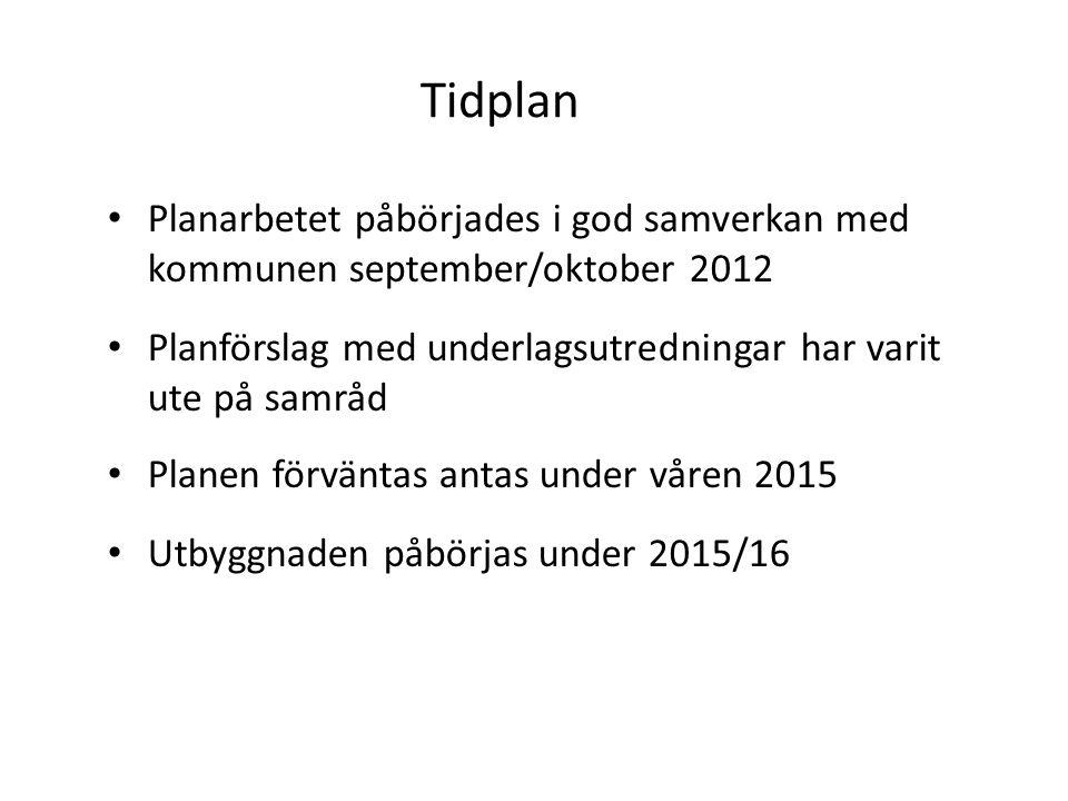 Tidplan Planarbetet påbörjades i god samverkan med kommunen september/oktober 2012 Planförslag med underlagsutredningar har varit ute på samråd Planen förväntas antas under våren 2015 Utbyggnaden påbörjas under 2015/16