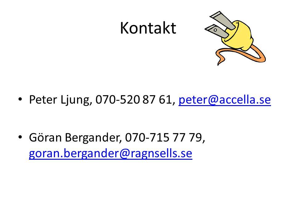 Kontakt Peter Ljung, 070-520 87 61, peter@accella.sepeter@accella.se Göran Bergander, 070-715 77 79, goran.bergander@ragnsells.se goran.bergander@ragnsells.se