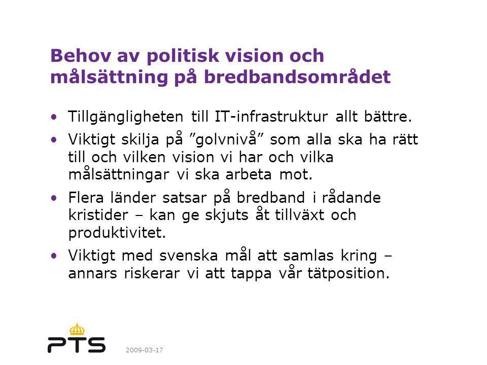 2009-03-17 Behov av politisk vision och målsättning på bredbandsområdet Tillgängligheten till IT-infrastruktur allt bättre.