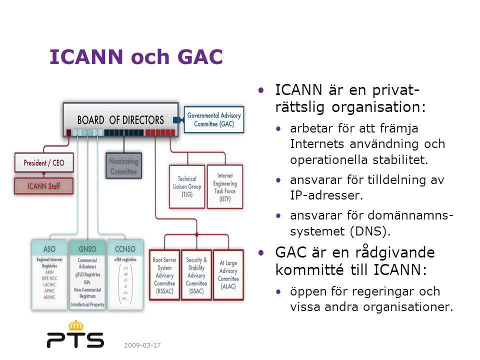 2009-03-17 ICANN och GAC ICANN är en privat- rättslig organisation: arbetar för att främja Internets användning och operationella stabilitet.