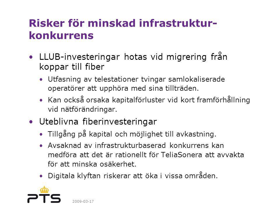 2009-03-17 Risker för minskad infrastruktur- konkurrens LLUB-investeringar hotas vid migrering från koppar till fiber Utfasning av telestationer tvingar samlokaliserade operatörer att upphöra med sina tillträden.