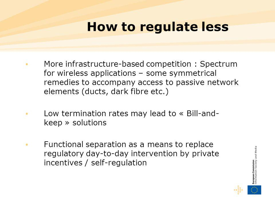 How to regulate less More infrastructure-based competition : Spectrum for wireless applications – some symmetrical remedies to accompany access to pas