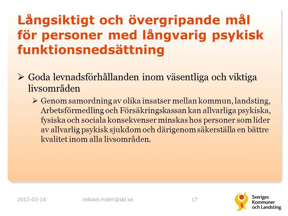 Långsiktigt och övergripande mål för personer med långvarig psykisk funktionsnedsättning  Goda levnadsförhållanden inom väsentliga och viktiga livsom
