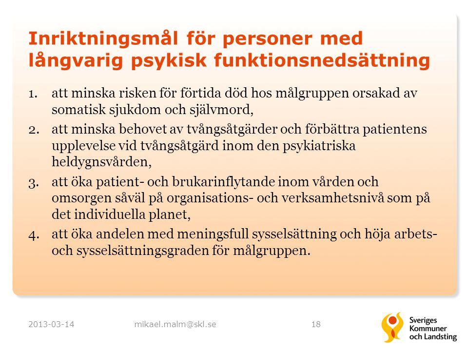 Inriktningsmål för personer med långvarig psykisk funktionsnedsättning 1.att minska risken för förtida död hos målgruppen orsakad av somatisk sjukdom