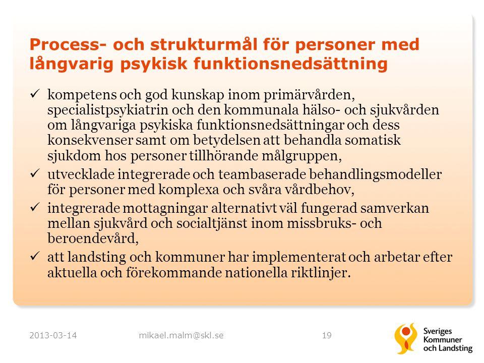 Process- och strukturmål för personer med långvarig psykisk funktionsnedsättning kompetens och god kunskap inom primärvården, specialistpsykiatrin och