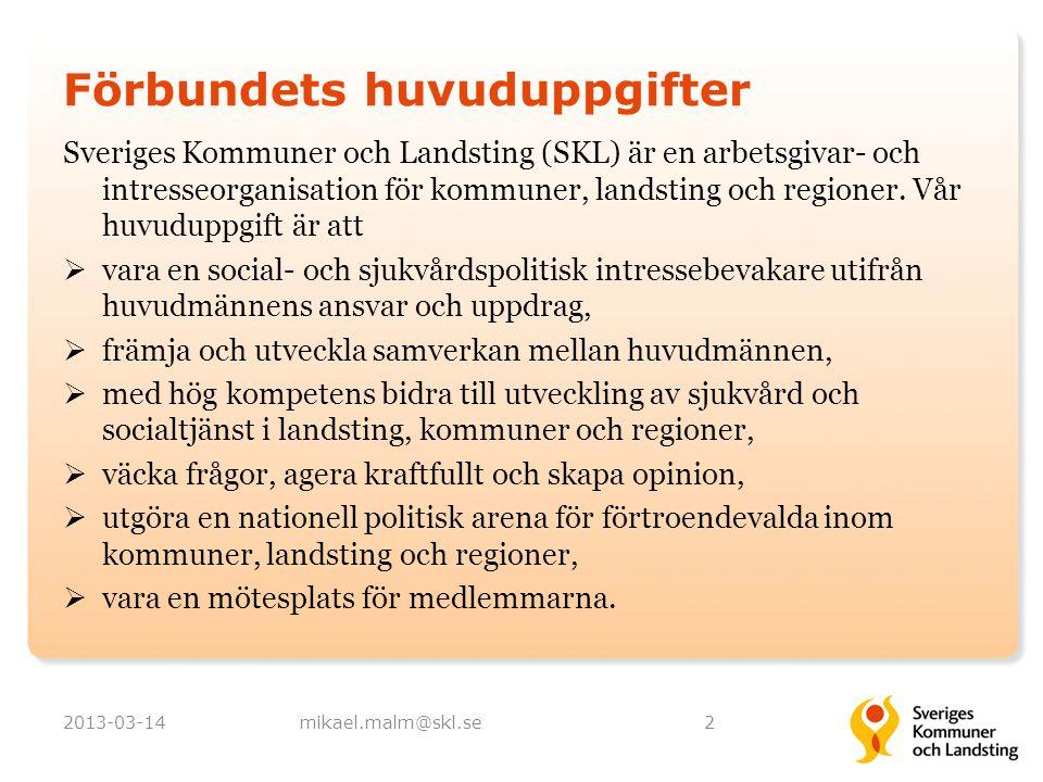 Förbundets huvuduppgifter Sveriges Kommuner och Landsting (SKL) är en arbetsgivar- och intresseorganisation för kommuner, landsting och regioner. Vår