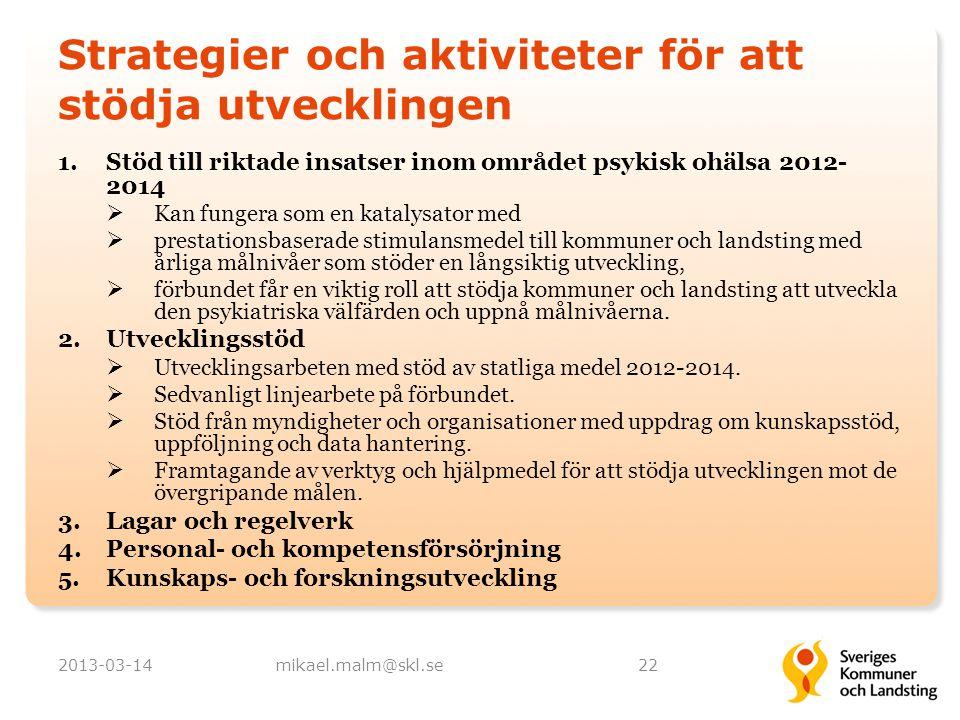 Strategier och aktiviteter för att stödja utvecklingen 1.Stöd till riktade insatser inom området psykisk ohälsa 2012- 2014  Kan fungera som en kataly