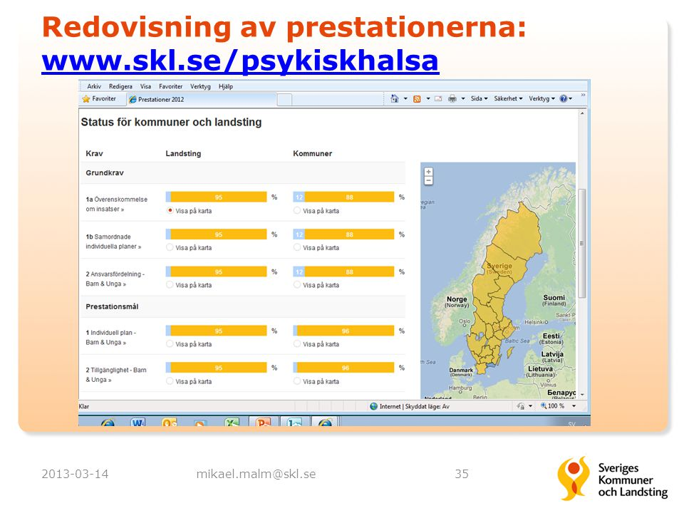 Redovisning av prestationerna: www.skl.se/psykiskhalsa www.skl.se/psykiskhalsa 2013-03-14mikael.malm@skl.se35
