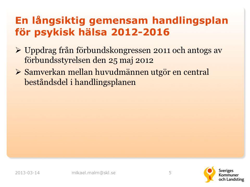 En långsiktig gemensam handlingsplan för psykisk hälsa 2012-2016  Uppdrag från förbundskongressen 2011 och antogs av förbundsstyrelsen den 25 maj 201
